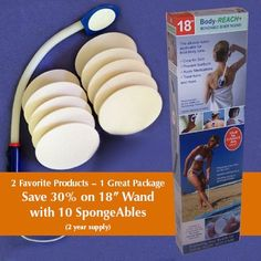 """Semi-flex Body-Reach+ Bendable """"Unbreakable"""" Lotion Applicator includes: SpongeAbles or 2 year supply! The Body-Reach+ bendable lotion applicators Bath Brushes, Skin Cleanse, Bath And Body, Lotion, Shampoo, Gift Store, Black Friday, Bathing, Beauty Products"""