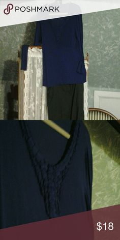 Coldwater Creek cobalt blue decorated neck long sl Pleated neck detail long sleeves soft material great condition scoop neck rayon and spandex mix great layering piece : it really pops with a black jacket or cardigan. Coldwater Creek Tops Tees - Long Sleeve