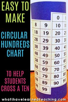 A hundred chart turned into a circular tool that students can use to cross a ten. Better yet, use a 0-99 chart, where students have to go to the next line to get to the next decade. FREE download of the charts to make your own! #firstgrademath #kindergartenmath