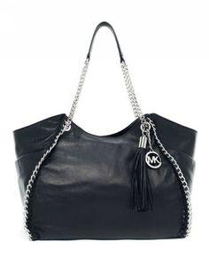 Michael Kors Handbags Sale Chelsea Large Shoulder Tote Black Leather