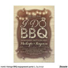 rustic vintage BBQ engagement party invitation