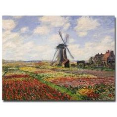 Claude Monet 'Tulip Fields with Rijnsburg Windmill, 1886' Canvas Wall Art  $81