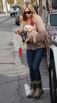 Ashley Tisdale in Ash boots  dark blue denim  and fall brown sweater ♥