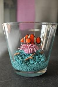 aquarium poisson clown en fimo  sur son anémone