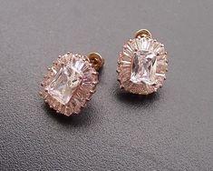 Rose Gold Art Deco Style Stud Earrings Josephine Gold Art, Bridal Jewellery, Wedding Earrings, Beautiful Roses, Art Deco Fashion, Fashion Advice, Ear Piercings, Jewelry Collection, Swarovski Crystals