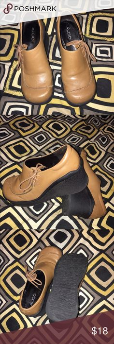 Aldo shoes size 7 Moccasin/wedge shoes, super cute with Jeans. Pre-Owned in excellent condition. Aldo Shoes Mules & Clogs