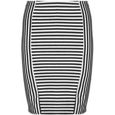 Zhenzi Black / White Plus Size Striped jersey skirt (£35) ❤ liked on Polyvore