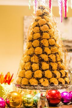 Croquembouche made with melted chocolate instead of melted sugar