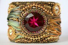 WaldFantasy ShiboriArmband reserviert von ZuziHake auf Etsy, $180.00. Embroidery beaded cuff bracelet. Beautiful ruby colored stone