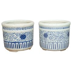 Pair of Blue and White Porcelain Pots | From a unique collection of antique and modern porcelain at https://www.1stdibs.com/furniture/dining-entertaining/porcelain/