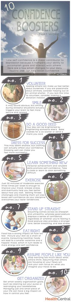 A hidden culprit of #depression, #anxiety, and #stress is low self-confidence. Here are some small changes to your daily routine that can help boost confidence. - See more at: http://www.healthcentral.com/depression/c/458275/167445/confidence-infographic/?ap=2012