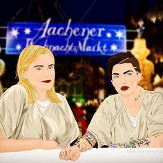 Zwei Glühwein, bitte... Litchfield Ladies wurden auf dem Weihnachtsmarkt gesichtet. #OITNB #OrangeIsTheNewBlack #fanart #TaylorSchilling #PiperChapman #RubyRose #StellaCarlin #vector #illustration #Weihnachtsmarkt #Aachen