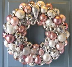 pink, ivory and silver Christmas ornaments wreath