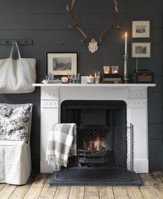 Grey Wood Furniture Plank Walls Ideas For 2019 White Fireplace, Fireplace Wall, Cosy Fireplace, White Mantle, Farmhouse Fireplace, Fireplace Design, Grey Wood Floors, Grey Walls, Grey Wood Furniture
