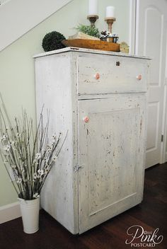 featured at twelveOeight Pretty Things Link Party: The Pink Postcard Chippy Vintage Wardrobe, gorgeous!! #shabby #vintage #paint #decor