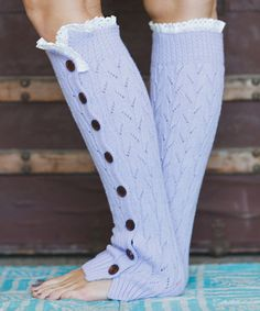 Look at this Orchid Lace-Trim Full Button Leg Warmers on #zulily today!