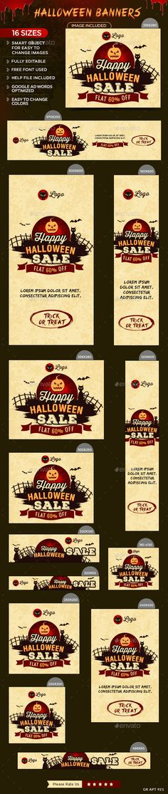 Halloween Sale Web Banners Template PSD #design #ad Download: http://graphicriver.net/item/halloween-sale-banners/13139783?ref=ksioks