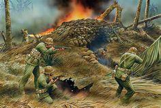 Miembros de la Segunda División de Marines despejando un búnker japonés en Tarawa, cortesía de Peter Dennis. Más en www.elgrancapitan.org/foro