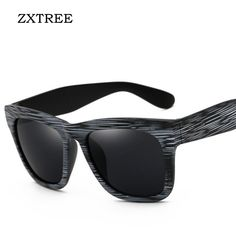 2aaed5909f8f0 ZXTREE New Brand Designer Retro Sunglasses Men Big Frame Wood Grain Eyewear  Unisex Sun Glasses For