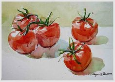 Tomato watercolor Paintings | watercolor painting tomatoes
