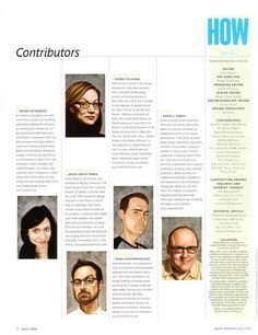 I really like the use of caricatures of the contributors to introduce them. It gives the page a whimsical feel.