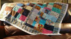 Lap quilt made from scraps, quilted on machine.