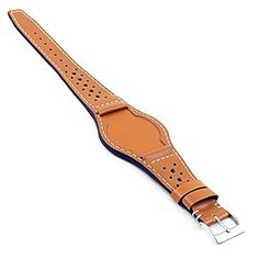 2195d00d96f DASSARI Timber Italian Leather Perforated Rally Bund Watch Strap for Tudor  Heritage Ranger in Tan 22mm