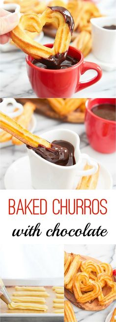 Baked Churros (Only 5 Ingredients!) – Kirbie's Cravings Baked Churros with Chocolate. The dough comes together in 5 minutes and your oven does the rest! Chocolate Triffle Recipe, Chocolate Recipes, Lindt Chocolate, Chocolate Crinkles, Chocolate Smoothies, Chocolate Mouse, Chocolate Shakeology, Chocolate Drizzle, Chocolate Churros