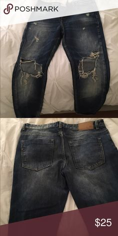 Zara Denim Zara Premium Wash Trafaluc Jeans Boyfriend fit- large holes at both knees Zara Pants Ankle & Cropped