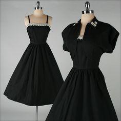vintage 1950s dress . black cotton . white by millstreetvintage, $145.00