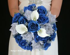 Blue and Silver Wedding Flowers with gray berries.  Complete Wedding Flowers Packages starting at $100