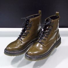 Zara Boots Military Flat Ankle Army Green Goth Street Style Sz 8 US 39 EUR   6ad33b8a1248