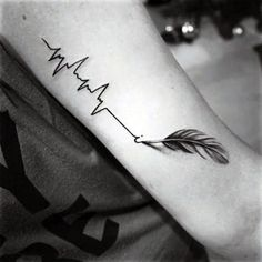 Mens Forearms Heartbeat And Grey Quilled Feather Tattoo