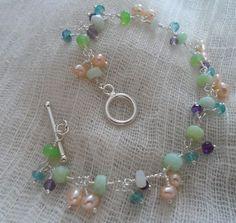 Multi Gemstone and Pearl bracelet