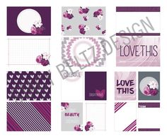 Originally $1.99  A rich floral design that speaks to your feminine side. These rich pinks and purples make my heart happy! As with all my journaling card designs, the design goes to the full corner so you can round or leave square. Purple Roses PDF Printable 8 - 6x4 Large Cards 8 - 3x4 Small Cards  This is a print ready PDF. All you have to do is print and cut! Content created by Stacy Beltz  Contact me for a custom project