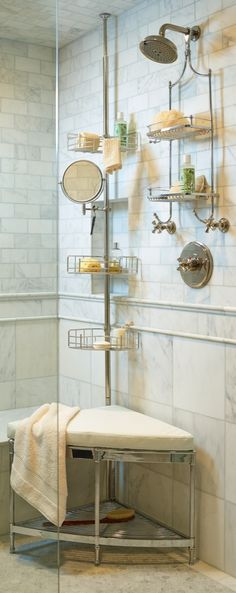 "Our Tension-mount Shower Butler exceeds others by offering more strength, more space, and more features for increased functionality. This shower organizer features three deep 3-1/2""H baskets to securely contain heavier, larger shampoos, pump soaps, and gels."