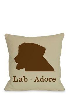 "Lab-Adore Pillow - 18"" x 18"""