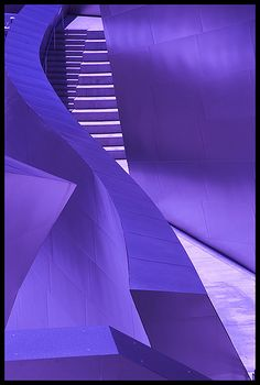 """LosAGheryWeb9,"" by Virtual 360, via Flickr -- This is the Walt Disney Concert Hall in Los Angeles, designed by Frank Gehry. It is not purple; that is just great lighting. Click here (http://interactive.wttw.com/tenbuildings/walt-disney-concert-hall) to see more of this magnificent building and here (http://www.e-architect.co.uk/architects/frank-gehry) for an overview of and links to his works."