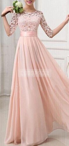 Half Sleeves Jewel Neckline A-line Lace Pink Bridesmaid Dress