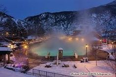 Glennwood Springs, CO. We left Vail and rode to Aspen. This is a town in between the two where we stayed for the night.  It was January and 10 degrees outside and this hot spring lake was filled with people...slj