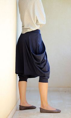 Dark Blue Winter Harem pants with skirt. Casual от ShantimamaShop