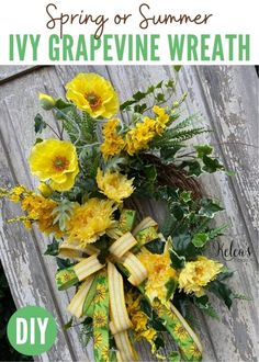 Learn how to make your own beautiful ivy grapevine wreath that's perfect for Spring or Summer front door decor. Front Door Decor, Wreaths For Front Door, Door Wreaths, Spring Home Decor, Spring Decorations, Diy Wreath, Grapevine Wreath, Summer Wreath, Spring Wreaths