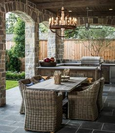 rustikale Rattan Stühle Holztisch Garten Outdoor Küche