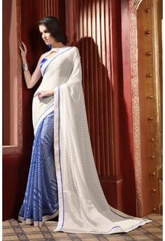 White Party Wear Saree with Lace Border