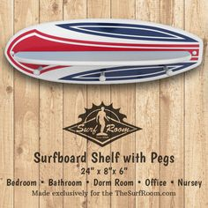 Our Pinstripe Surfboard Shelf with Pegs will add a wave of color and function to your walls. Our surfboard shelf is two products built into one, it's a Surfboard Shelf and Surfboard Rack. This surfboard shelf is the perfect size for accenting a surf theme bedroom or bathroom wall. Surfboard shelf includes a shelf to display...