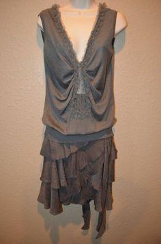 NWT $2280 Sz 6 Nina Ricci Taupe/Gray Sleeveless Top Matching Skirt Outfit Set