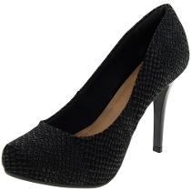 4cbcf76137cc9 Sapato feminino salto alto preto estilo serpente amei falta uma bolsa assim  para arrasar  )