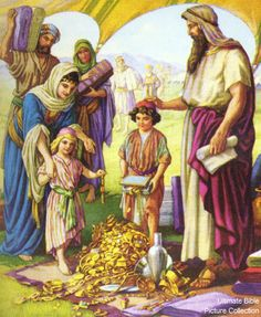 Exodus <b>Israelites</b> Bringing Treasures for Golden Calf Golden Calf, The Bible Movie, Total Image, Sunday Worship, Bible Illustrations, Bible Pictures, Sunday School Lessons, Old Testament, Christian Art