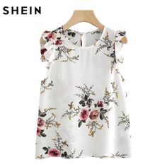 SHEIN Frilled Armhole Button Closure Back Shell Top Women Summer Tops White Round Neck Sleeveless Floral Blouse
