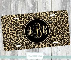 LEOPARD PRINT LICENSE Plate Animal Print Car  Tags Monogrammed Personalized Cheetah Tags Brown Black Initials Name Aluminum Auto Accessory $21.99 by Pearlheartprints